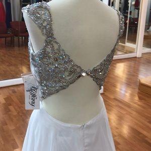 Tiffany Designs Dresses - White prom dress with rhinestones